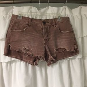 Free People vintage rose wash cut off shorts